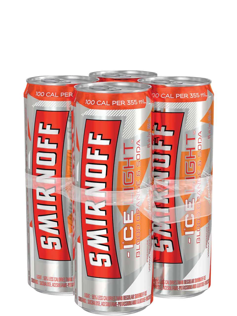 Smirnoff Ice Light Blood Orange & Soda 4 Pack Cans