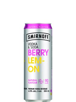 Smirnoff Vodka & Soda Berry Lemon 4 Pack Cans