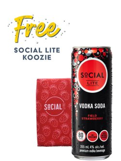 Social Lite Vodka Soda Field Strawberry 4pk Cans
