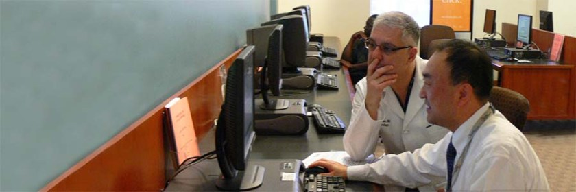A librarians assists a physician with an online search