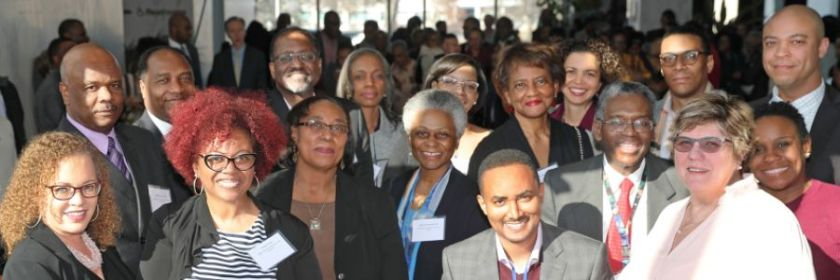honorees from the NLM Black History Month celebration pose with NLM Director Dr. Patricia Flatley Brennan