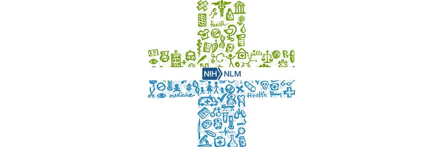 cross shape comprised of medican icons in the center of which is the NLM logo