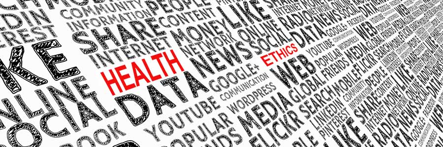 "A wall of words relating to social media, with the words ""health"" and ""ethics"" prominently visible in red"