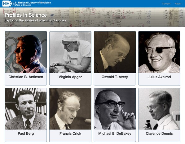 Screen shot of NLM Profiles in Science website
