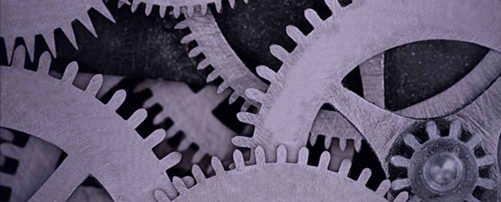Abstract image of purple gears