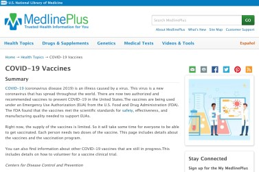 Screen shot of MedlinePlus COVID-19 webpage