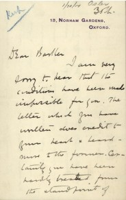 Handwritten letter by Osler on January 30, 1914, from 13 Norham Gardens, Oxford.