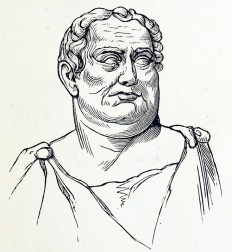 Simple engraving of a statue of a heavy man in a toga.