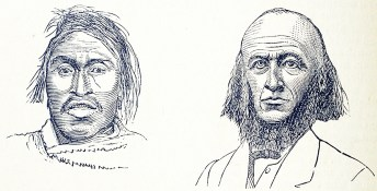 The faces of two men one with a narrow forehead and wide jaw, the other with a wide forehead and narrow jaw.