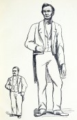 An engraving of two men, one less than half as tall as the other.