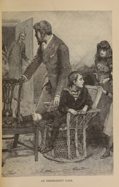A boy sits on a chair, one leg bandaged and elevated. A man stands by him as visitors are entering.