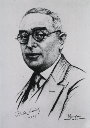 A drawing of a man in a suit and glasses dated 1929 and signed by the artist Max Genneider Wien.