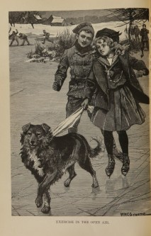 Two childrn on ice skates with a dog.