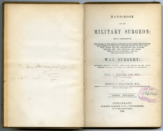 The title page of the Handbook for the Military Surgeion that belonged to Augusta.