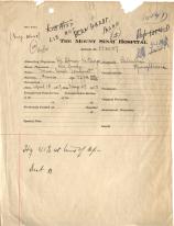 A sheet from Sarah Bernhardt's hospital records.