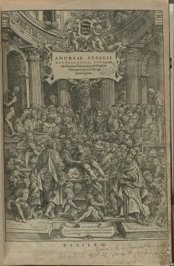 Illustration from Vesalius's De Fabrica showing Vesalius conducting a dissection for an audience.