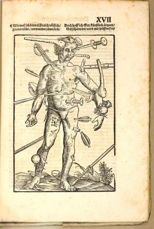 Figure of a man whose body has been pierced by a variety of weapons: swords, knives, arrows, cannonballs, spears, and clubs.