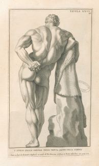 An engraving of a classical statue.