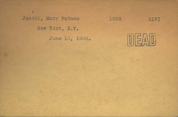 A typwritten card with minimal information stamped DEAD.