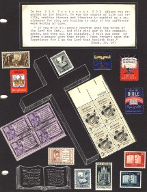 Many stamps with images of the bible from various countries. The stamps are on a page that has a large cross drawn on it.