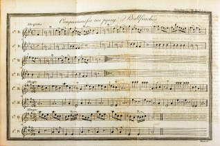 A plate from the Journal Philosophical Transactions illustrating the musical notation for two piping bullfinches.