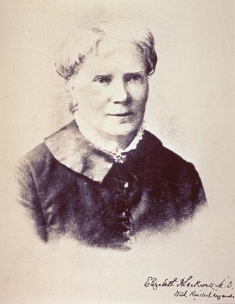 Formal bust photographic portrait of Elizabeth Blackwell.