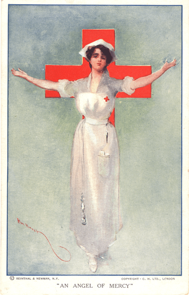 Postcard featuring a color illustration of a nurse in a Red Cross uniform. Her arms are stretched out to her side. There is a Red Cross symbol behind her.