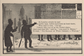 An illustrated poem depicts a man on the streets of London in silhouette.