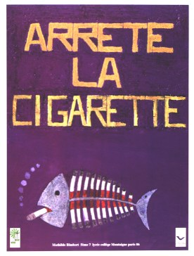 A poster of a smoking fish with cigarettes for ribs.