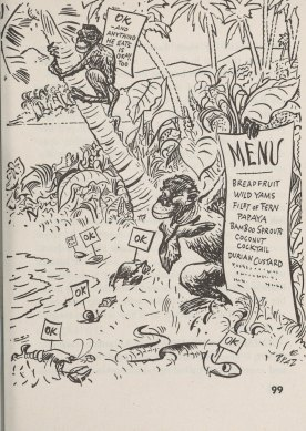 "What to eat when shipwrecked - a cartoon of animals labeled ""OK"" and a list of plants."