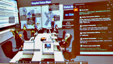 A screenshot of the virtual incident command center showing avatars working to respond to the mock emergency incident.