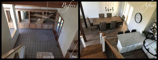 Kitchen/Dining Room from above - Before & After Renovations