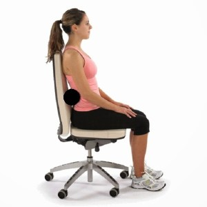 Try and sit with feet on the floor, bum back and your lumbar spine supported