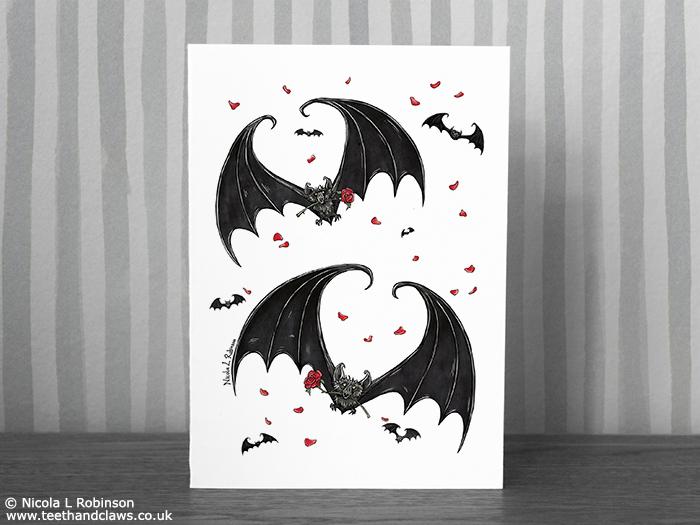 Gothic Bat Valentine Card © Nicola L Robinson