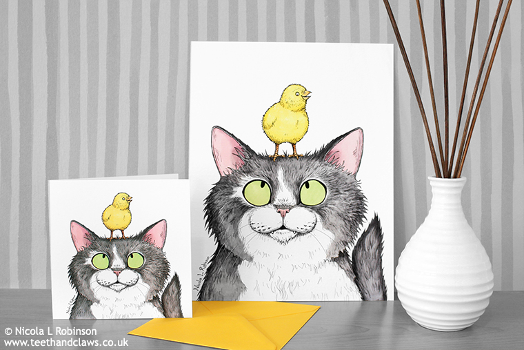 Easter cat card and art print © Nicola L Robinson