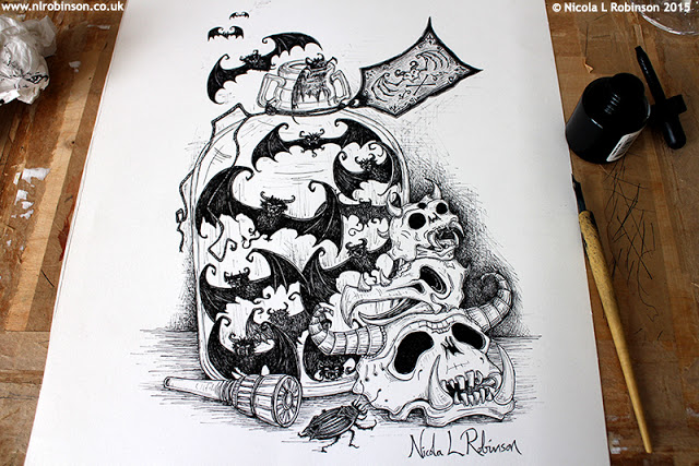 Pen and ink halloween illustration © Nicola L Robinson All rights reserved www.nlrobinson.co.uk