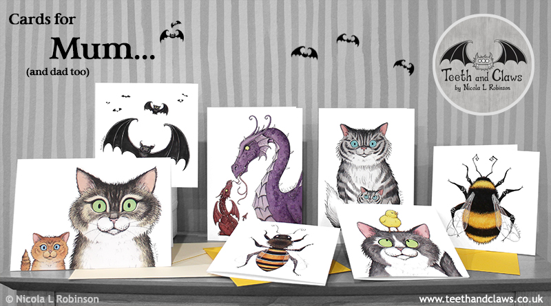 Mother's Day Cards Dragons, Cats, Bats and Bees © Nicola L Robinson www.teethandclaws.co.uk Made in the UK