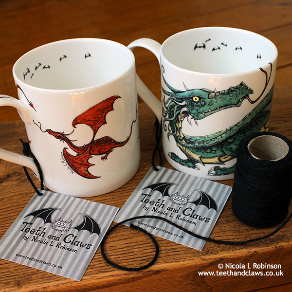 Dragon Mugs Fathers Day Gifts for Dad © Nicola L Robinson www.teethandclaws.co.uk