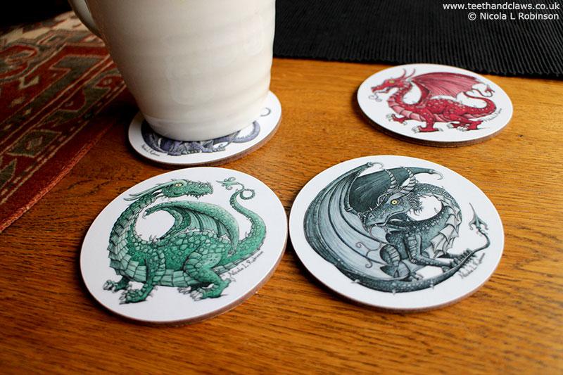 Dragon Coasters, Dragon Decor, Dragons Gifts © Nicola L Robinson