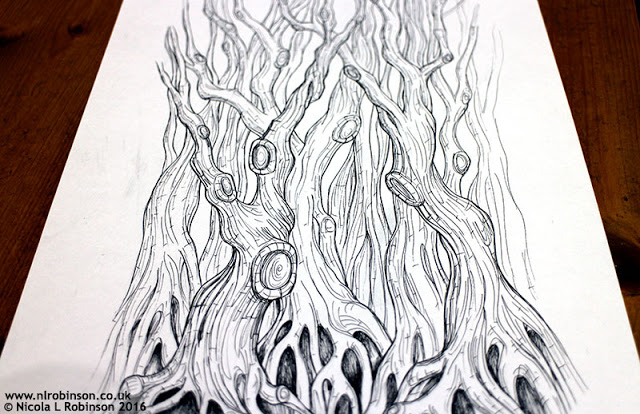 inky trees  illustration © Nicola L Robinson. All rights reserved. www.nlrobinson.co.uk
