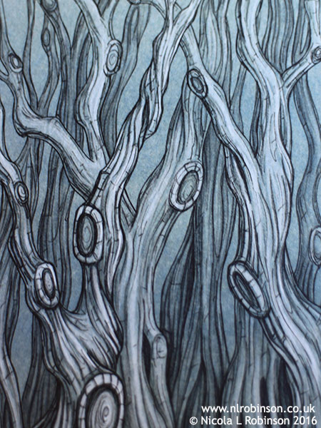 Inky twisted trees illustration © Nicola L Robinson all rights reserved www.nlrobinson.co.uk