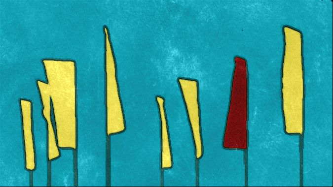 Sketched stad flags red yellow b gall