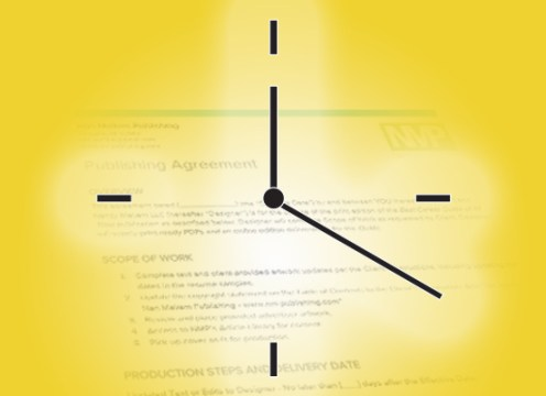 Photo: Clock superimposed over sample custom Career Guide publishing agreement. This is the perfect time to get started on CG planning!