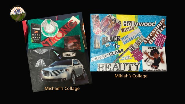 Frame showing Michael's and Mikiah's collages.