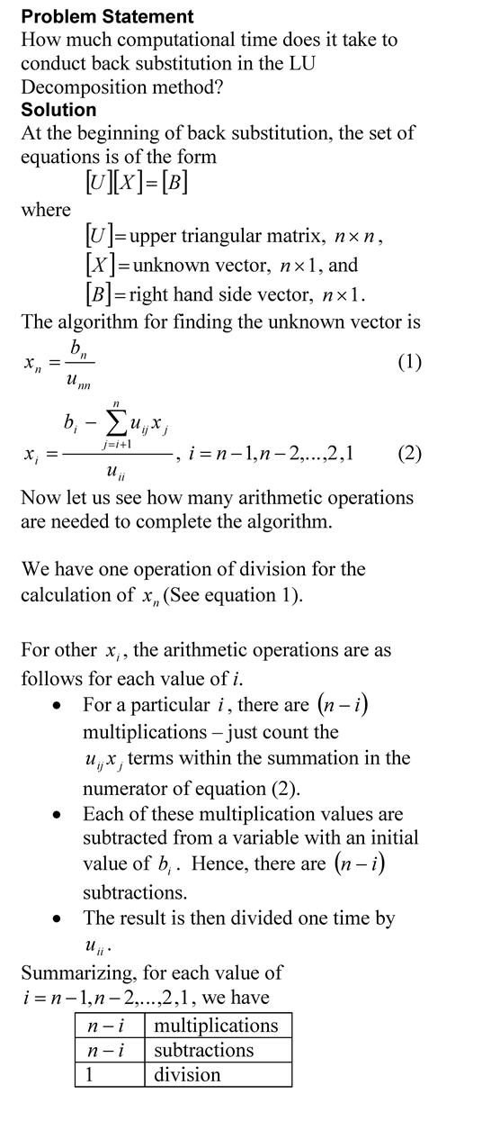 Computational Time for Back Substitution – The Numerical