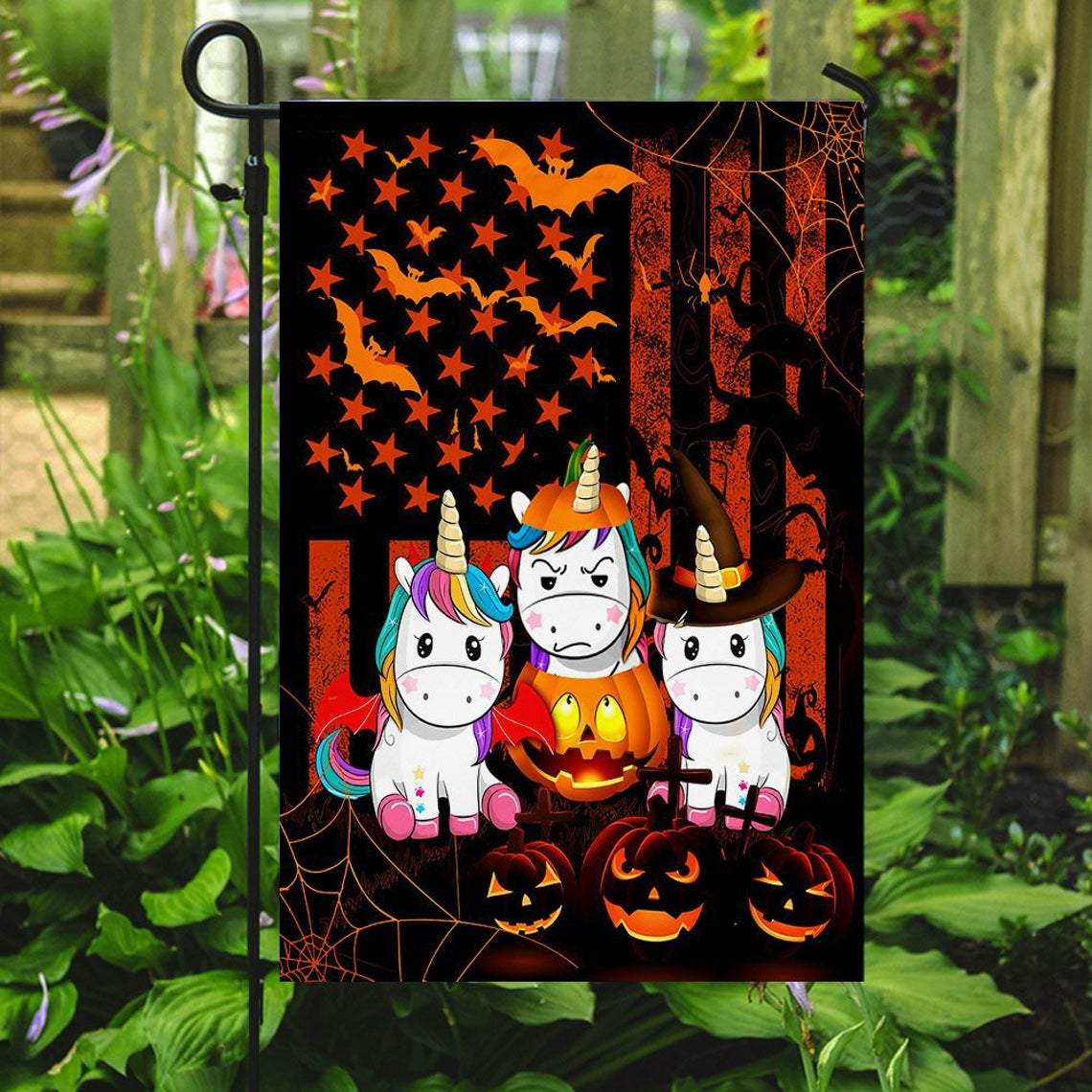 The holiday is intended to remember the dead saints and other souls; Halloween Unicorn Witch American Us Flag Garden Happy Halloween Day Decor Seasonal Outdoor Flag New House Gift Kitty Melody