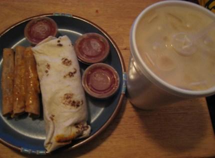 Burrito, taquitos and horchata