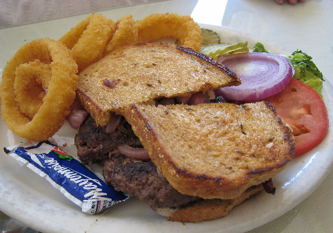 Patty melt with onion rings