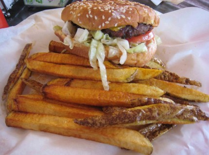 Green chile cheeseburger with French fries