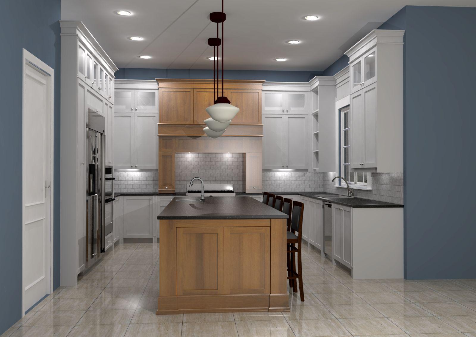 White Shaker Kitchen W Maple Island Nick Miller Design